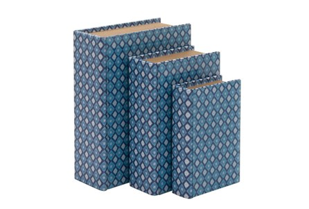 3 Piece Set Blue Geo Book Boxes