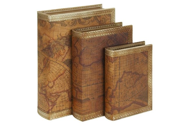 3 Piece Set Gold & Leather Book Boxes - 360