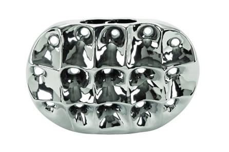 11 Inch Silver Ceramic Vase - Main