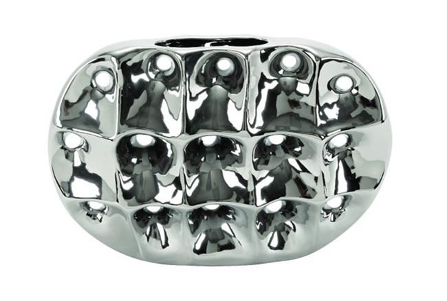 11 Inch Silver Ceramic Vase - 360