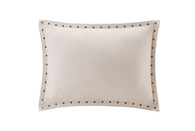 Accent Pillow-Studded Suede Ivory 14X20 - 360
