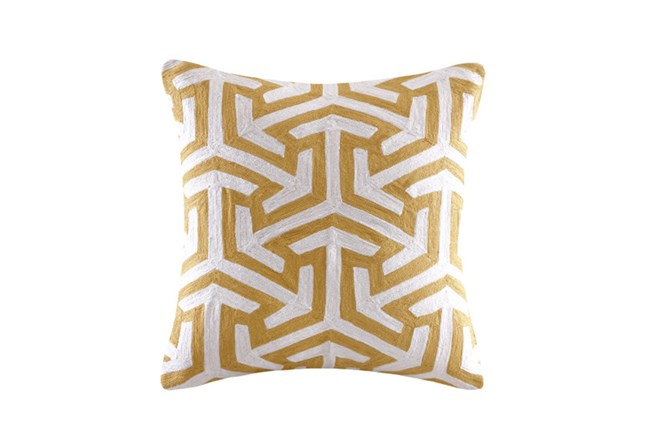 Accent Pillow-Crewel Geometric Yellow 20X20 - 360