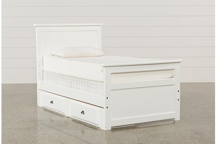 Summit White Twin Panel Bed With Single 2-Drawer Underbed Storage - Main