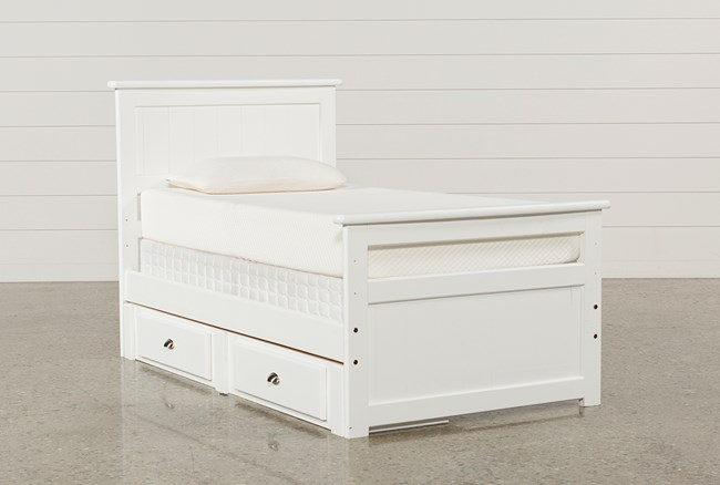 Summit White Twin Panel Bed With 2-Drawer Underbed Storage - 360