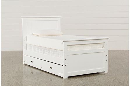 Summit White Twin Panel Bed With Trundle With Mattress - Main