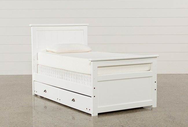 Summit White Twin Panel Bed With Trundle With Mattress - 360