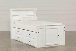 Summit White Twin Bookcase Bed With Single 4-Drawer Storage Unit