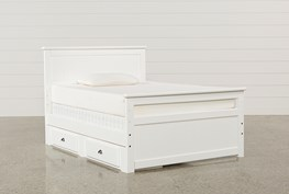 Summit White Full Panel Bed With Single 2-Drawer Underbed Storage