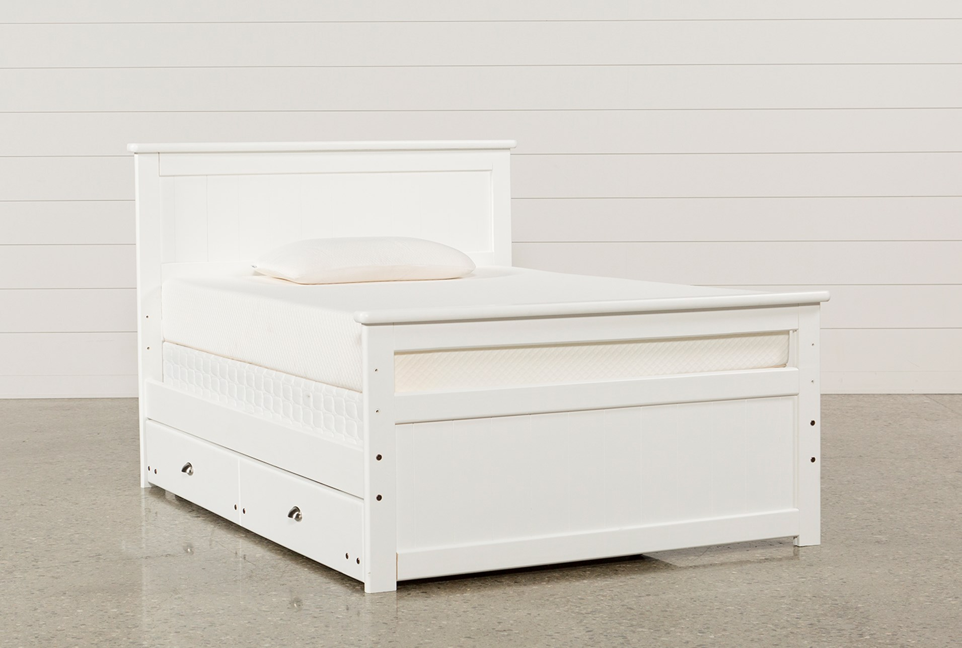 Summit White Full Panel Bed With Trundle With Mattress Living Spaces