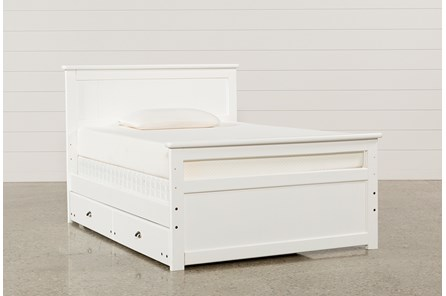 Summit White Full Panel Bed With Trundle With Mattress - Main