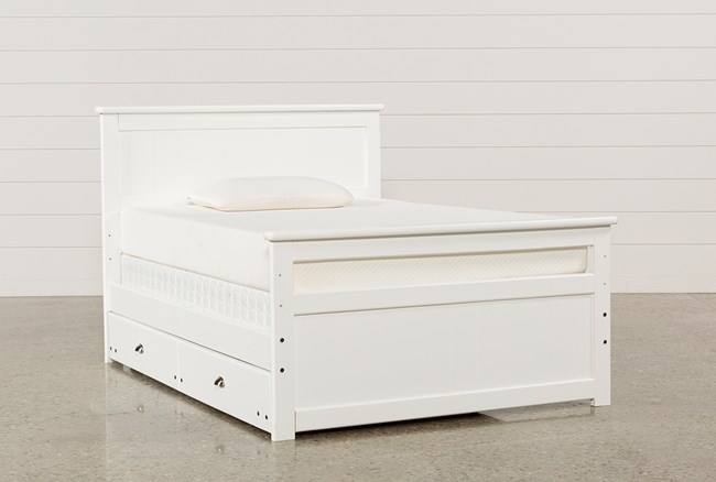 Summit White Full Panel Bed With Trundle With Mattress - 360