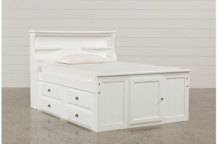 Summit White Full Bookcase Bed With Single 4-Drawer Storage Unit