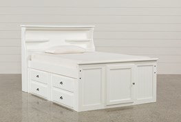 Summit White Full Bookcase Bed With Double 4-Drawer Storage Unit