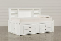Summit White Twin Roomsaver Bed With 2-Drawer Captains Trundle
