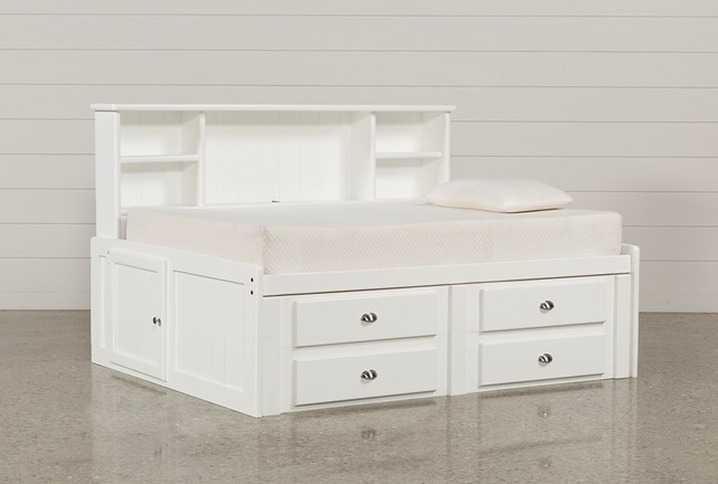 Summit White Full Roomsaver Bed With 4-Drawer Storage Unit - 360