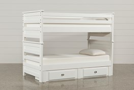 Summit White Twin Over Twin Bunk Bed With 2-Drawer Underbed Strg