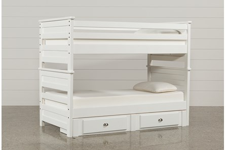 Summit White Twin Over Twin Bunk Bed With 2-Drawer Underbed Strg - Main