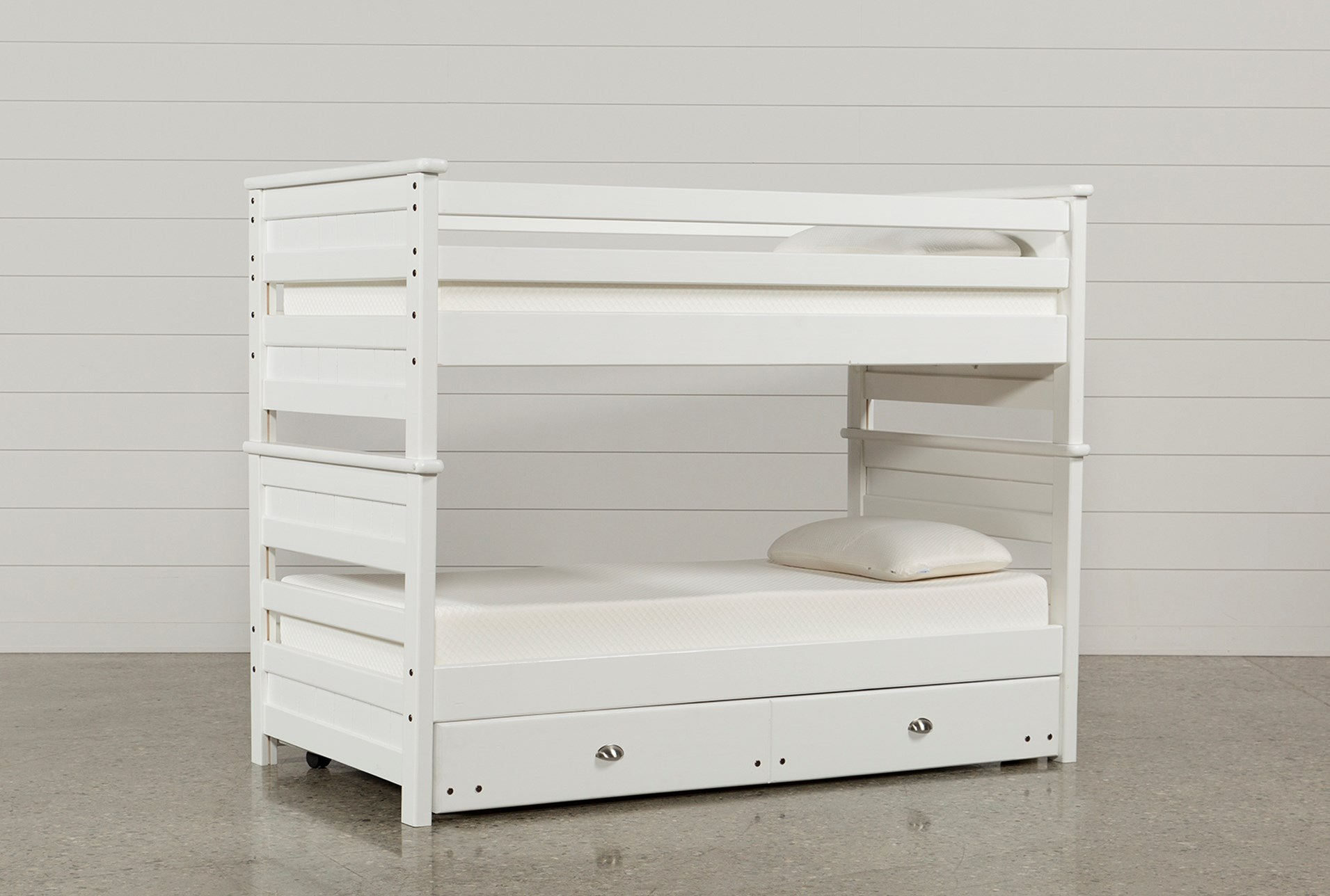Summit White Twin Over Twin Bunk Bed With Trundle With Mattress