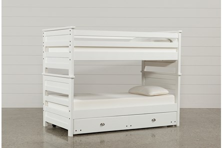 Summit White Twin Over Twin Bunk Bed With Trundle With Mattress - Main