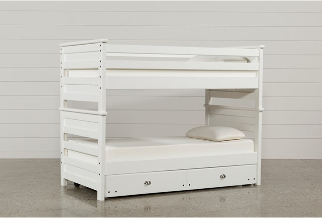 Summit White Twin Over Bunk Bed With Trundle Mattress 360
