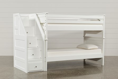 Summit White Twin Over Twin Bunk Bed With Stairway Chest