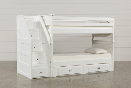 Summit White Twin Over Twin Bunk With 2- Drawer Undrbd Strg & Stairway