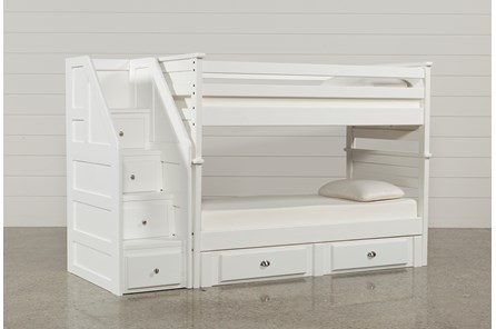 Summit White Twin Over Twin Bunk With 2- Drawer Undrbd Strg & Stairway - Main