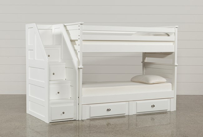 Summit White Twin Over Twin Bunk With 2- Drawer Undrbd Strg & Stairway - 360