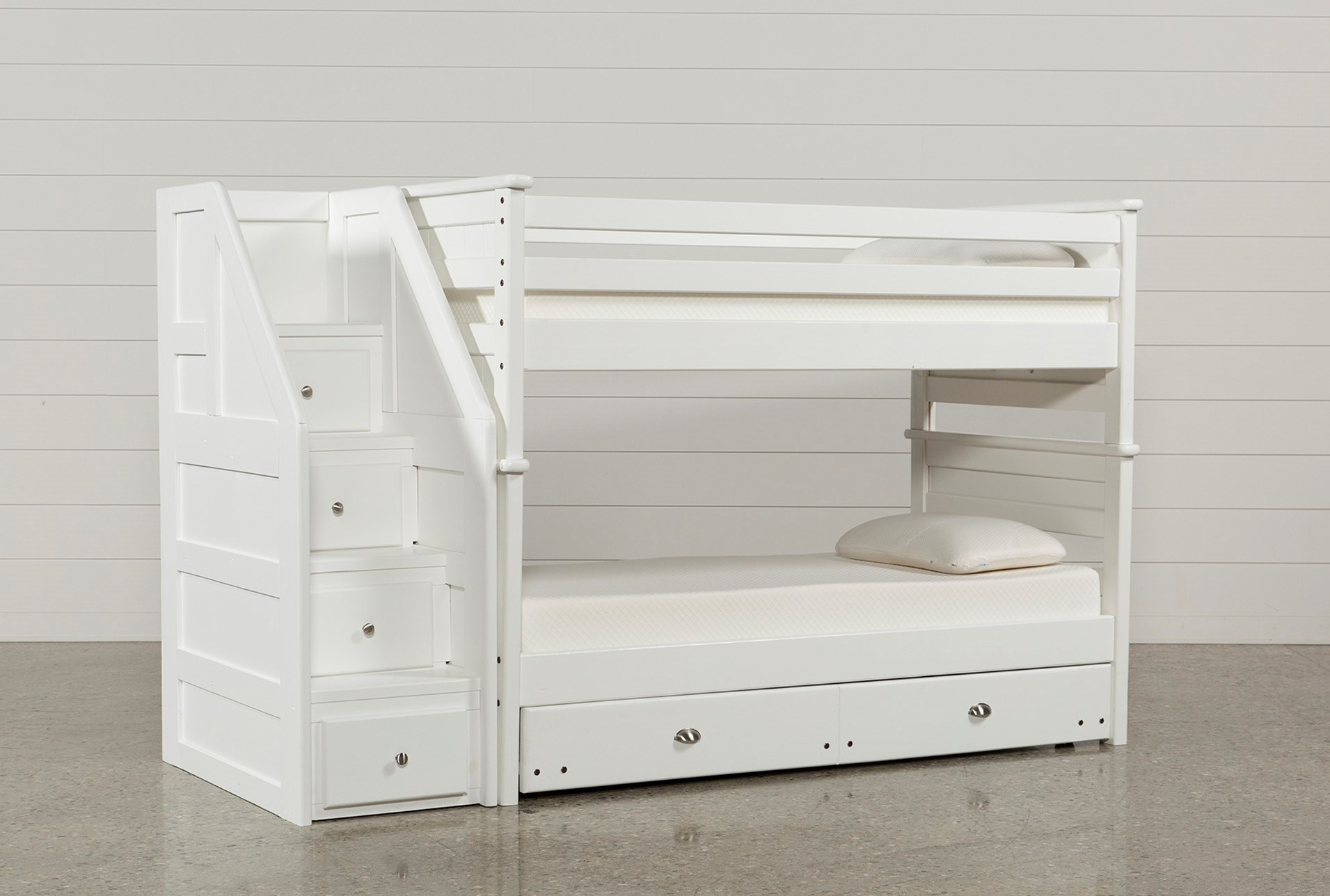 Summit White Twin Over Twin Bunk With Trundle Mattress Stairway