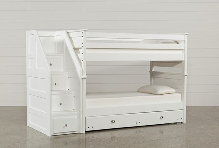 Summit White Twin Over Twin Bunk With Trundle/Mattress & Stairway