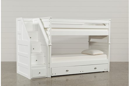 Summit White Twin Over Twin Bunk With Trundle/Mattress & Stairway - Main