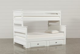 Summit White Twin Over Full Bunk Bed With 2- Drawer Underbed Strg Unit