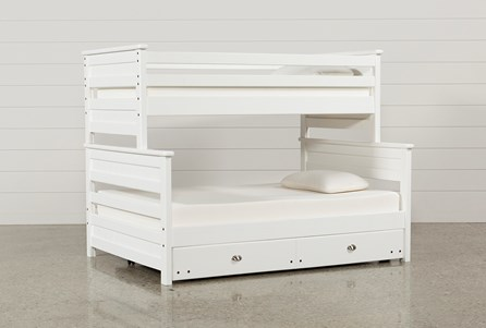 Summit White Twin Over Full Bunk Bed With Trundle With Mattress