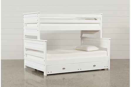 Summit White Twin Over Full Bunk Bed With Trundle With Mattress - Main