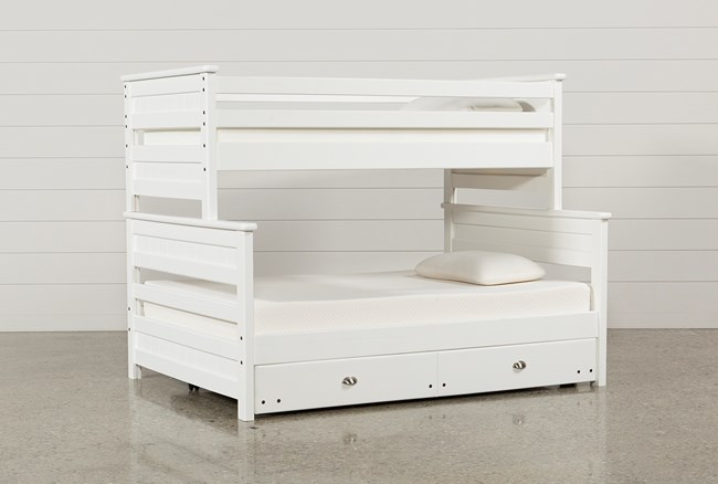 Summit White Twin Over Full Bunk Bed With Trundle With Mattress - 360
