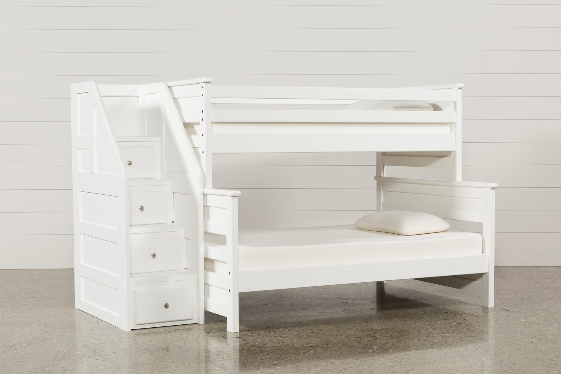 Summit White Twin Over Full Bunk Bed With Stairway Chest Living Spaces