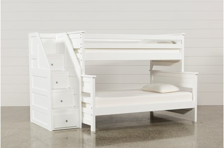 Summit White Twin Over Full Bunk Bed With Stairway Chest - Main