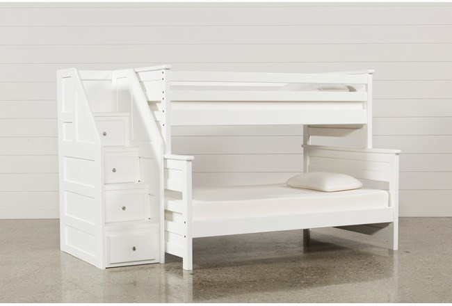 Summit White Twin Over Full Bunk Bed With Stairway Chest 360