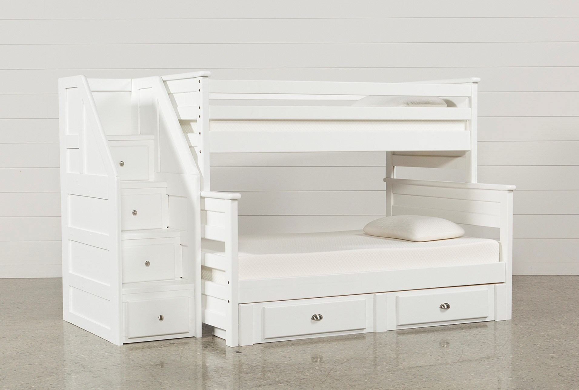 Summit White Twin Over Full Bunk With 2 Drawer Undrbd Strg