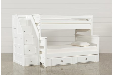 Summit White Twin Over Full Bunk With 2- Drawer Undrbd Strg & Stairway - Main