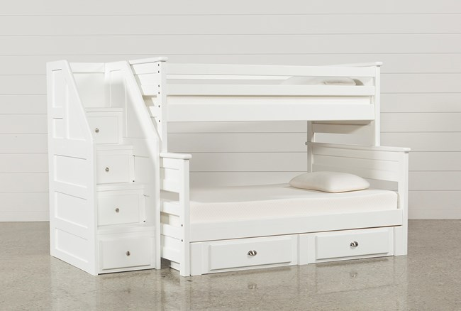 Summit White Twin Over Full Bunk With 2- Drawer Undrbd Strg & Stairway - 360