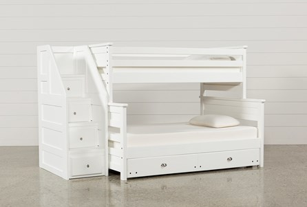 Summit White Twin Over Full Bunk With Trundle/Mattress & Stairway Chest
