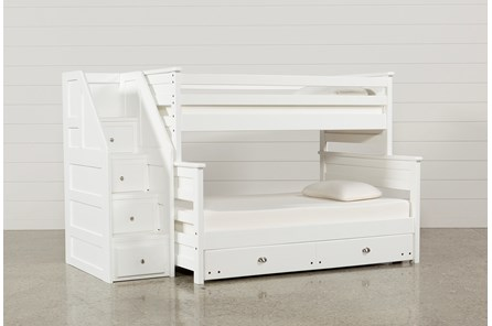 Summit White Twin Over Full Bunk With Trundle/Mattress & Stairway - Main