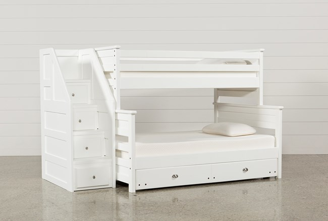 Summit White Twin Over Full Bunk With Trundle/Mattress & Stairway - 360