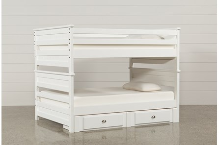 Summit White Full Over Full Bunk Bed With 2- Drawer Underbed Strg Unit - Main