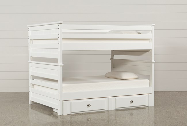 Summit White Full Over Full Bunk Bed With 2- Drawer Underbed Strg Unit - 360
