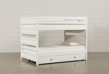 Summit White Full Over Full Bunk Bed With Trundle With Mattress