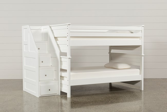 Summit White Full Over Full Bunk Bed With Stairway Chest - 360