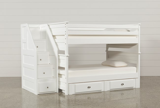 Summit White Full Over Full Bunk With 2- Drawer Undrbd Strg & Stairway - 360