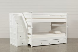 Summit White Full Over Full Bunk With Trundle/Mattress & Stairway Chest
